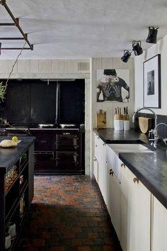 Minimalist interior in a century house, Antwerp Kitchen Black Counter, Kitchen Tiles, Wabi Sabi, Axel Vervoordt Kitchen, Rustic Kitchen, Kitchen Dining, Cocinas Kitchen, Layout, Cuisines Design