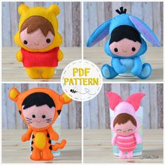 PDF PATTERN Set of 4 Baby Pooh and friends.  Felt PDF sewing