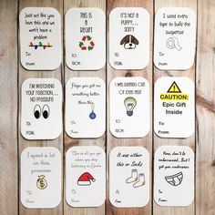 Funny Christmas Sticker Gift Tags, Holiday Labels, Gift Wrap, Package Tag by ArtfulCreationsByDeb on Etsy