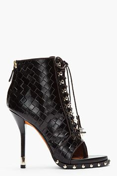 GIVENCHY Black Embossed Leather Open Toe Studded Ankle Boots |=