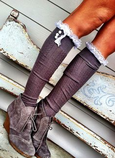 Gray Frilly Lace Boot Socks  Stretchy Cable Knit by ThreeBirdNest
