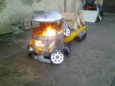 Timber Truck firepit Wood burners and Trailers. Handcrafted by Scottish Recycling Artist, Barry wood..
