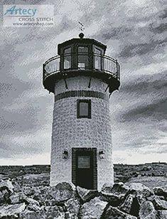 Black and White Lighthouse cross stitch pattern.