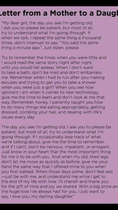 A letter from A mother to her children the day you see I'm getting old I ask you to please be patient but most of all try to understand what I'm going through