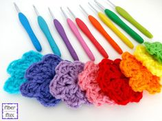 Rainbow Blooms, free crochet pattern on Fiber Flux!