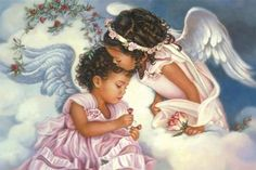 Angels come in all skin tones. African American Artwork, Angel Kisses, Prayers For Children, Angel Prayers, I Believe In Angels, Black Angels, Angels In Heaven, Heavenly Angels, Angels Among Us