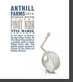 Anthill Farms 2010 Pinot Noir Tina Marie Vineyard