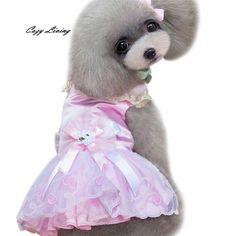 Dog Dress Summer 1 PC Party Wedding Dress Dog Pet Puppy Clothes Clothing Doggy Apparel Lace Skirt Pet Costume Wholesale JA1