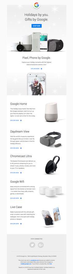 Google sent this email with the subject line: Give the gift of Google: Pixel, Daydream View, Google Home, Chromecast Ultra—and more - Read about this email and find more e-commerce emails at ReallyGoodEmails.com #ecommerce #app #technology