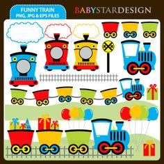 Funny Train Clip Art Set. $5.00, via Etsy.