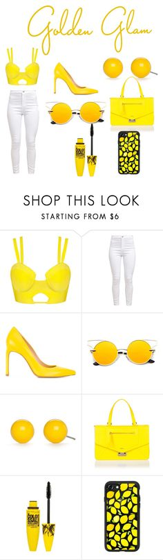 """Mellow Yellow contest!!!"" by fashion-cupcake-kitty ❤ liked on Polyvore featuring Stuart Weitzman, Kim Rogers, Furla, Maybelline and Casetify"