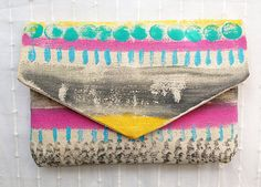 Handmade clutch envelope clutch aztec pattern by MyALaModeBoutique