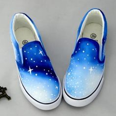 kawaii shoes cute ombre galaxy shoesSole Material: tendonClosed way: set of feetPattern: hand-paintedStyle: sweetUpper: CanvasPattern: hand-painted Painted Canvas Shoes, Custom Painted Shoes, Painted Vans, Hand Painted Shoes, Painted Sneakers, Kakis, Custom Vans Shoes, Custom Converse, Galaxy Shoes