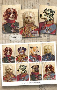 LITTLE HEROES - Printable Greeting Cards Digital Collage Sheet Gift tags Jewelry holders Vintage Ephemera Paper Craft