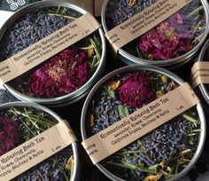 Perfect for Valentine's Day or any special by SummerSunHerbals - The Romantically Relaxing Bath Tea with Lavender, Roses, Chamomile, Skullcap, California Poppy and Nettle.  Delightful!