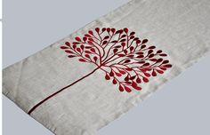 Red Tree Table Runner Linen Table Runner 14 x 64 by KainKain, $41.00