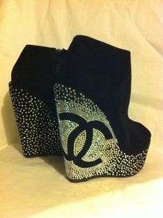 Chanel booties? LOVE IT!!  Coco Crystal Explosion Platform Peep Toe Wedge Boots by abbymc09, $96.00