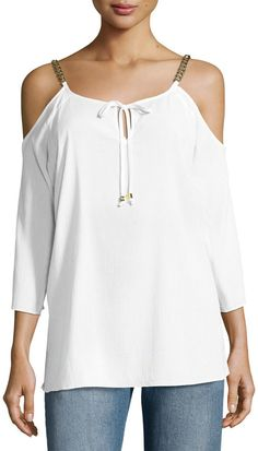MICHAEL Michael Kors Cold-Shoulder Chain Tie Top, White