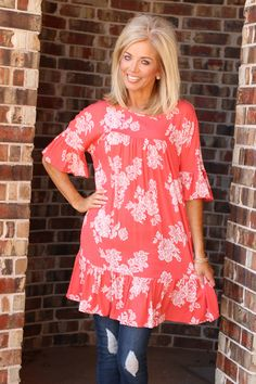 0a3d4b47b0b37 One Faith Boutique - Be True Floral Print Tunic Dress With Ruffled Accents  ~ Coral