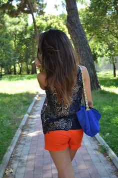 love the orange shorts! Read It And Weep, Orange Shorts, Everyday Fashion, Spring Summer Fashion, Colour Pop, Color, Short Dresses, Stylists, Fashion Outfits