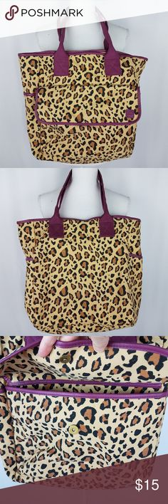 "Michael's Animal Print Tote Bag Large Michael's  Animal Print  Tote Bag  Size is Large Height is 15"" Length is 13"" Bottom width is 6"" Strap handles are 24"" Outside Pockets with snap closure  Excellent Used Condition no rips tears hole snags or smells Michael's Bags Totes"