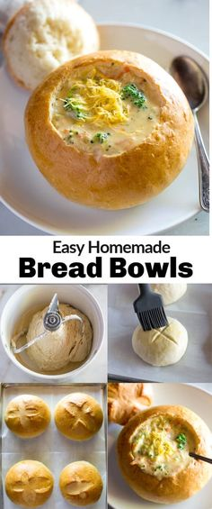 Homemade Bread Bowls - - Perfect Homemade Bread Bowls, made right in your own kitchen! These are nothing short of AMAZING, with a perfect crusty exterior, and soft in the center. Bread Machine Recipes, Bread Recipes, Soup Recipes, Cooking Recipes, Recipes Dinner, Milk Bread Recipe, Recipies, Homemade Bread Bowls, Bread Bowls For Soup