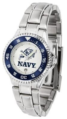 Naval Academy Midshipmen Ladies Stainless Steel Watch by SunTime. $76.95. Officially Licensed Navy Midshipmen Ladies Stainless Steel Watch. Stainless Steel. Links Make Watch Adjustable. Rotating Bezel. Women. Naval Academy Midshipmen Ladies Stainless Steel Watch. This Navy metal wrist watch works for dress or casual apparel. Functional rotating bezel is color-coordinated to compliment your favorite Midshipmen team logo. The Competitor Steel utilizes an attractive and secure...