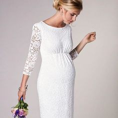 Sheer elegance by @tiffanyrosematernity City wedding? Feel smart and confident in the classic clean lines of their Abigail Lace maternity wedding dress.Available at www.tiffanyrose.com  #tiffanyrosematernity #maternitywear #wholesale #tradestrategy #maternitystyle #maternitybuyer