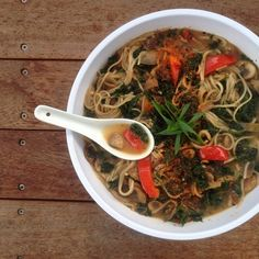 Raw till 4 dinner idea. Japanese noodle bowl Buckwheat soba noodles with miso, kale, mushrooms, red bell pepper, spring onions and chilli I sprinkled hemp hearts over before serving. Raw till four 801010