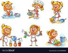 House cleaning girl is busy at home vector image on VectorStock Daily Routine Activities, Work Activities, Funny Cartoon Characters, Funny Cartoons, Preschool Newsletter, Sequencing Cards, Crochet Square Patterns, House Illustration, House Drawing