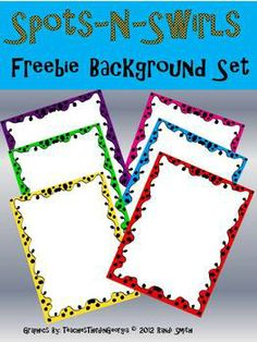 FREEBIE!! Spots and Swirls Background Clipart/Frames