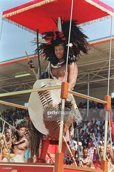 Swaziland King Mswati III, who succeeded 25 April 1986 his father King Sobhuza II, who died in 1982 at the age of salutes the crowd during commemoration of anniversary of his country. Tribal Warrior, African Inspired Fashion, African Fashion, Warrior King, Black Royalty, African History, African Life, African Royalty, African Animals