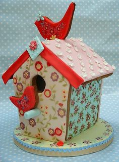Extraordinary hand painted & decorated gingerbread bird house. Gorgeous! by elvira