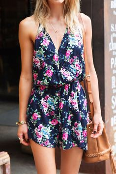 #AdoreWe #CupShe CupShe Glamorous One Stop Floral Halter Romper - AdoreWe.com