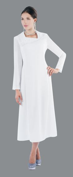 Style 9265 One Piece White Dress This classic always in style, perfect  for choir dress in preacher robe. It  has a bell sleeve with a wide collar   for special function and events.  Design is sparkled with rhinestones  like beads. It is a calf  length dress  for incredible femininity. Choir Dresses, Bride Dresses, Tabernacle Choir, Calf Length Dress, Mother Of The Bride, New Look, Bell Sleeves, Cold Shoulder Dress, White Dress