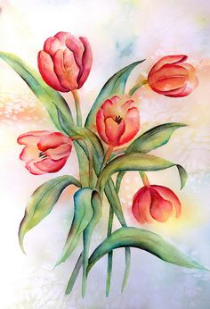 Kids Watercolor, Watercolor Flowers, Watercolor Paintings, Watercolours, Art Floral, Tulip Painting, Art Impressions, Botanical Art, Happy Easter
