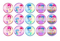 """Shimmer and Shine - 1"""" Bottle Cap Designs / DIY Hair Accessories / DIY Earrings / DIY Necklace / DIY Key Chain / Birthday Party / Party Favors / DIY Magnets / Bottle Cap Crafts / Bottle Cap Art / Bottle Cap Ideas / Bottle Cap Party Favors / Children Party Ideas / Children Party Themes / Kid Party Ideas / DIY Party Ideas"""