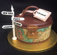 the greatest travel wedding cake! Luggage Cake, Suitcase Cake, Themed Wedding Cakes, Themed Cakes, Fondant Cakes, Cupcake Cakes, Bolo Paris, Farewell Cake, Cupcakes Decorados