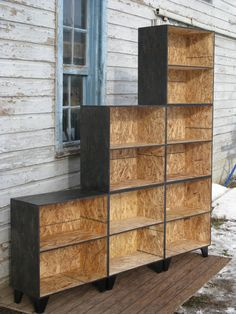 Custom Made Tansu Style Step Modular Osb Bookcase Room Divider In Black Stain Under stairs (Diy Storage Bookcase) Osb Plywood, Plywood Furniture, Diy Furniture, Furniture Design, Painted Osb, Painted Closet, Chipboard Interior, Osb Board, Oriented Strand Board