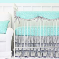 Aqua and silver sparkle baby bedding that can work in a gender neutral nursery