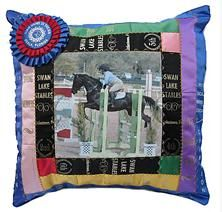 Horse Show Ribbon Pillow - with horse and rider photo!