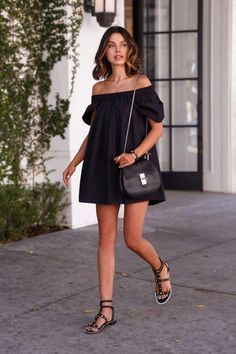 50 outfit ideas for date night this summer, off-the-shoulder dresses included