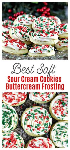 Best Soft Sour Cream Cookies with Buttercream Frosting - These are seriously the best kind of cookies for the holidays! So pillowy soft, and lightly sweetened, these bakery style Best Soft Sour Cream Cookiesiced with tantalizing Buttercream Frosting make these the bestest sugar cookies in the land!#cookies #christmascookies #dessert, holidays #baking #sugarcookies #sourcream Sour Cream Sugar Cookies, Rolled Sugar Cookies, Sugar Cookies Recipe, Cookies And Cream, Cookie Recipes, Dessert Recipes, Drop Cookies, Shortbread Cookies, Cookie Desserts