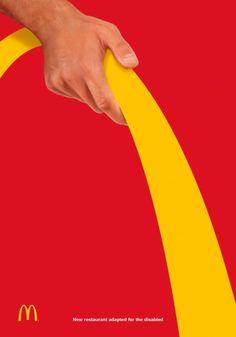 McDonald's: Wheelchair Ads Creative, Creative Posters, Creative Advertising, Internet Marketing, Online Marketing, Brand Advertising, Product Advertising, Visual Metaphor, Poster Ads
