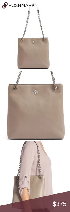 """Tory Burch Frida Leather Crossbody Bag A tiny, shining logo medallion adds signature polish to an understated bag crafted in rich grained leather and fitted with a shining pull-through chain strap. Hidden magnetic snap closure. Interior zip pocket. Never used-still in original packaging. French Grey. Silver detail.  11"""" W x 10 3/4""""H x 2""""D (interior capacity: small); 12"""" - 21 3/4"""" convertible strap.   *NO TRADES* Tory Burch Bags Crossbody Bags"""