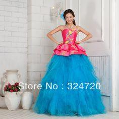 2013 beautiful hot pink and blue corset quinceanera dress sweet 15 dress f