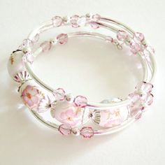 Pink and Silver Memory Wire Bracelet, Handmade Jewelry on Etsy, $25.00