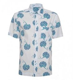 Men's floral print button up short sleeve shirt by VIETTIEN LAO on ezebee.com