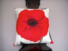 Red poppy design cushion cover accent by ItsSewInspirational, Suede Fabric, Cotton Fabric, Pillow Shams, Pillow Covers, Accent Pillows, Throw Pillows, Handmade Cushions, Cushion Pads, Red Poppies