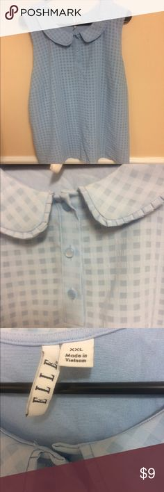 Baby blue shirt Really cute, really sad it no longer fits me. I love the few buttons and collar. Although wrinkled (will press before shipping) excellent condition. Tops